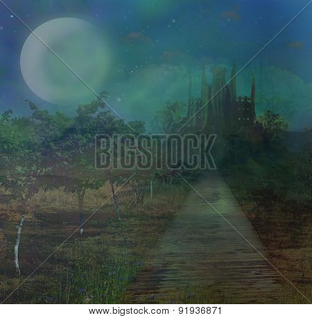 Landscape With Old Castle And Moon