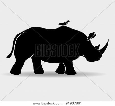 Vector sign. Rhinoceros.