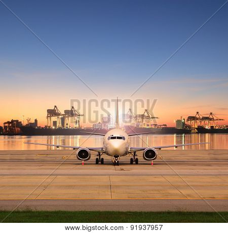 Cargo Plane Parking In Airport Runways And Shipping Port Behind Use For Ship Port Logistic And Air F