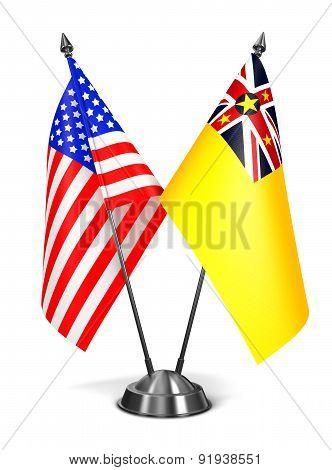 USA and Niue - Miniature Flags.