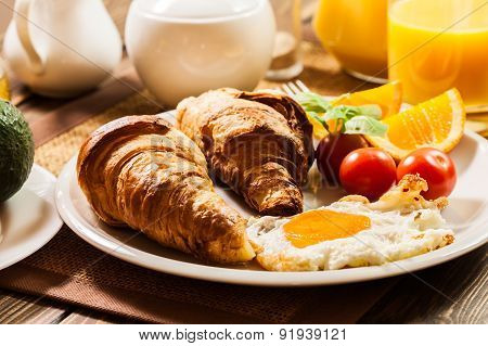Breakfast With Croissant End Orange Juice