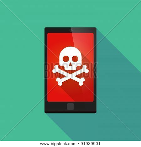 Long Shadow Phone Icon With A Skull