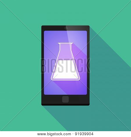 Long Shadow Phone Icon With A Chemical Test Tube