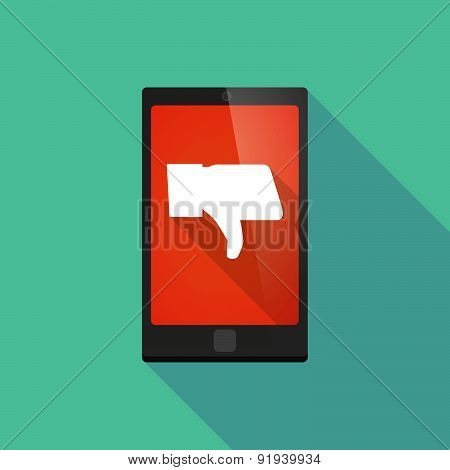 Long Shadow Phone Icon With A Thumb Hand