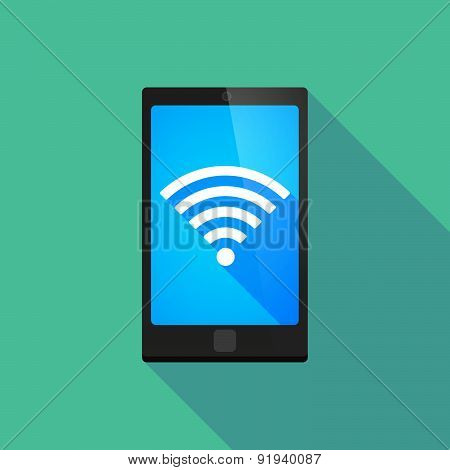 Long Shadow Phone Icon With A Radio Signal Sign