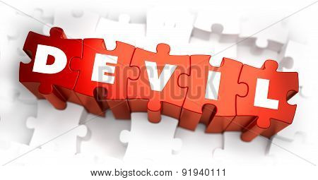Devil - Text on Red Puzzles with White Background.