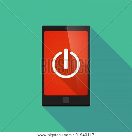 Long Shadow Phone Icon With An Off Button