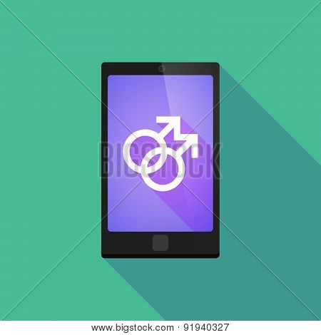 Long Shadow Phone Icon With A Gay Sign