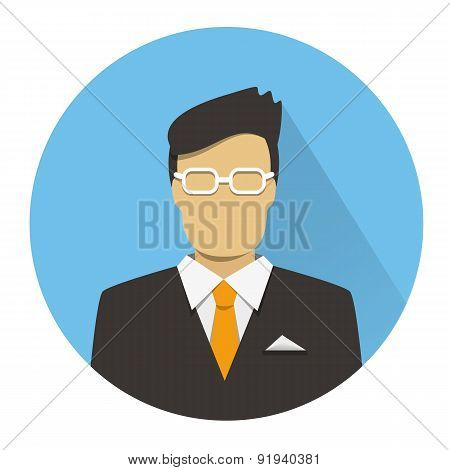Flat Icon Of Businessman.