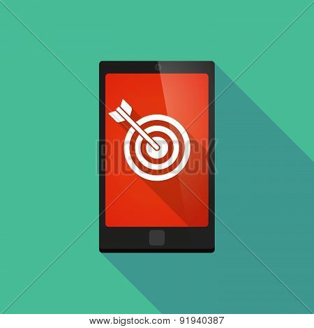 Long Shadow Phone Icon With A Dart Board