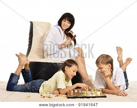Family playing chess