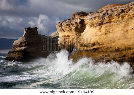 Oregon Coast Landscape With Rough Seas