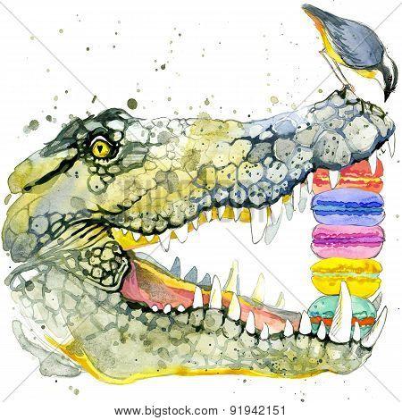 Funny crocodile and bird watercolor