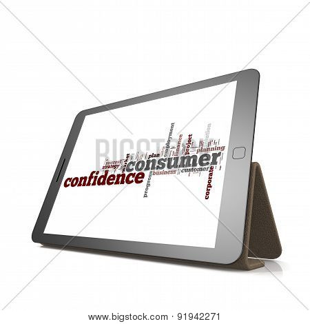 Consumer Confidence Word Cloud On Tablet