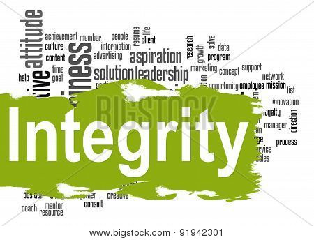 Integrity Word Cloud With Green Banner