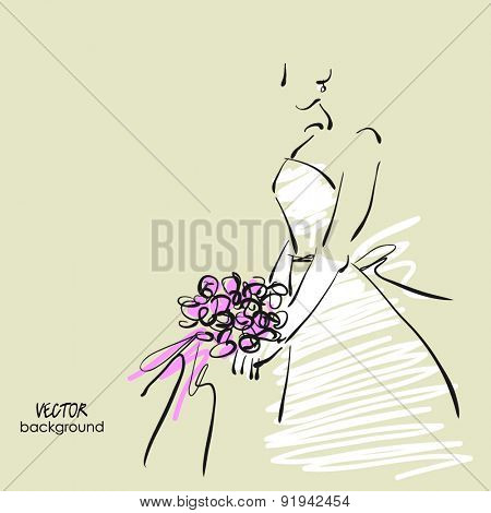 art sketch #12 of beautiful young  bride in white dress with the bride's bouquet. Vector background with space for text.