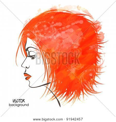 art sketched vector of girl face symbols in profile with red short grunge hair