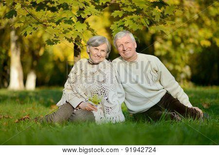 elderly couple sitting in autumn nature