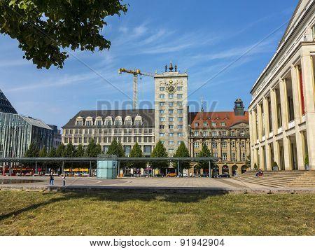Facade Of Famous Krock Skyscraper In Leipzig