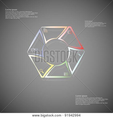 Hexagonal Infographic Consists Of Lines On Dark
