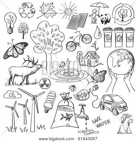 Ecology and recycle doodle icons set