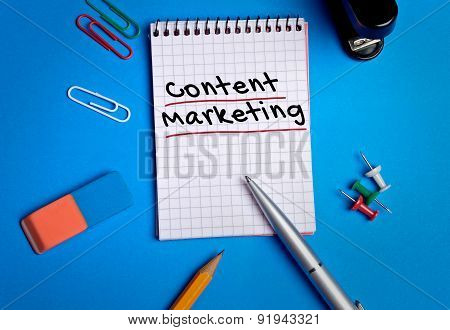 Content Marketing Word On Notebook