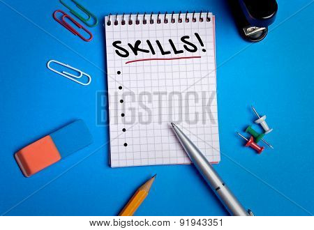 Skills Word On Notebook
