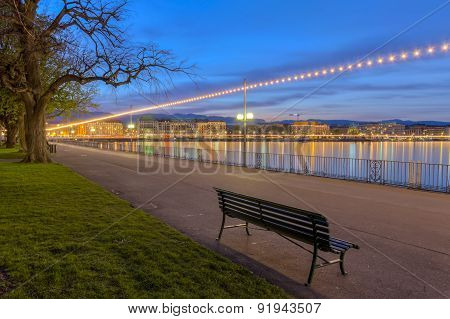 English garden promenade, Geneva, Switzerland, HDR