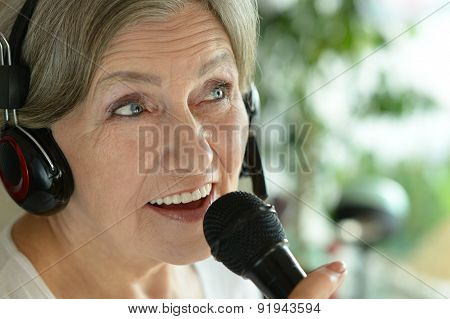 Senior woman singing