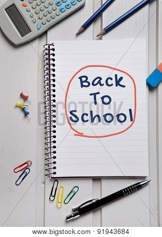 Back To School Word On Notebook
