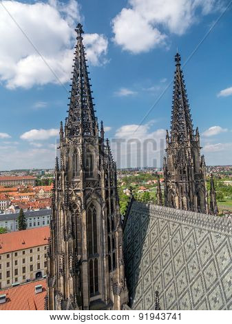 Gothic towers of Metropolitan Cathedral of Saints Vitus, Wenceslaus and Adalbert, Prague Castle, Czech Republic