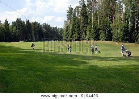 Grupo de jogadores de golfe no clube de campo