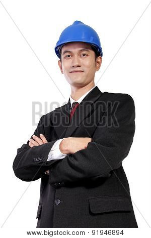 Young Architect With Crossed Arms Pose, Isolated On White