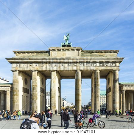 People Visit Brandenburg Gate In Berlin