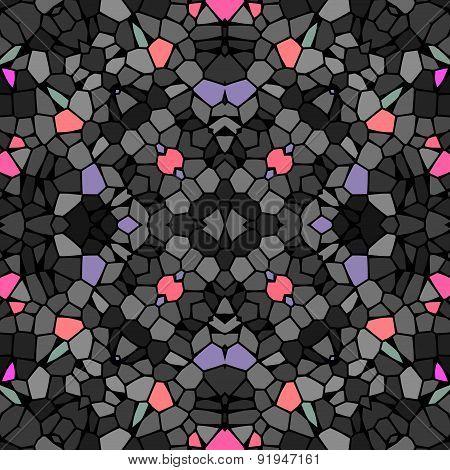 Seamless Kaleidoscopic Mosaic Grey Black Tile Pattern