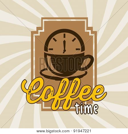 Coffee design over brown stripes background vector illustration