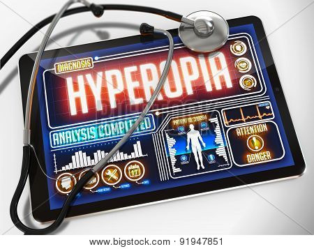 Hyperopia on the Display of Medical Tablet.