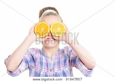 Small girl with an orange