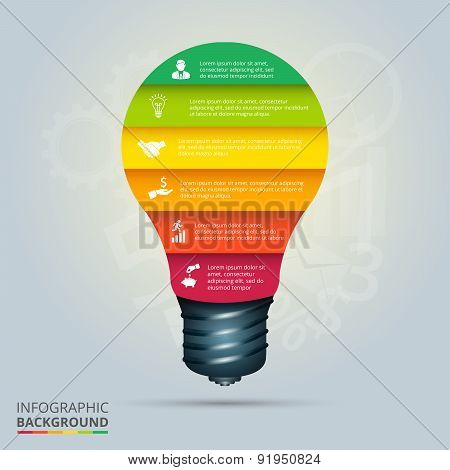 Vector light bulb element for infographic.