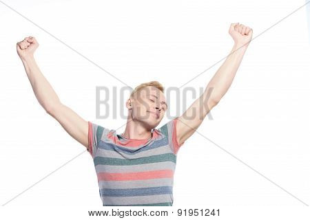 Young handsome man holding hands up