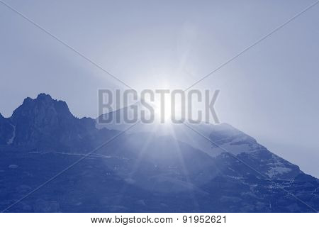 Sunset in mountains