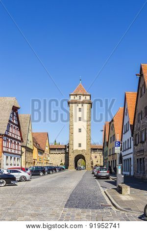 Old Castle Gate With Castle Tower Of Rothenburg Ob Der Tauber In Germany