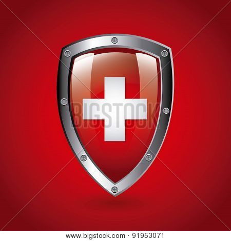 Swiss flag shield vector illustration