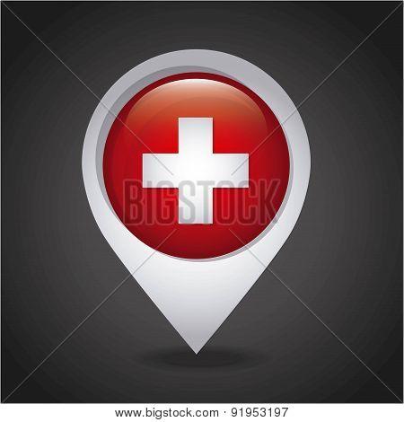 Swiss flag map pointer over black background vector illustration