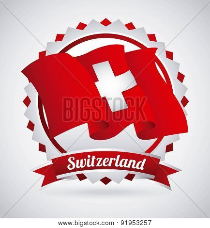 Swiss flag design over gray background vector illustration