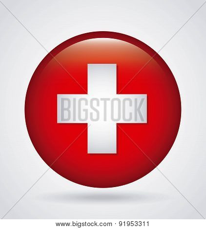 Swiss flag button over gray background vector illustration