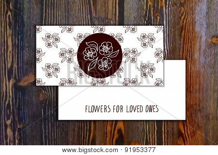 Card template with seamless pattern and floral element