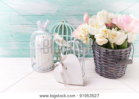 Background With Fresh  Tulip Flowers And Heart