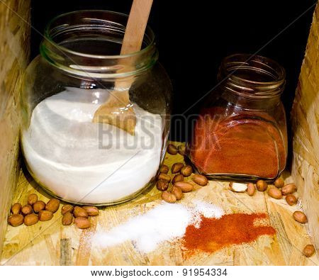 Salt And Cayenne Pepper In Jars