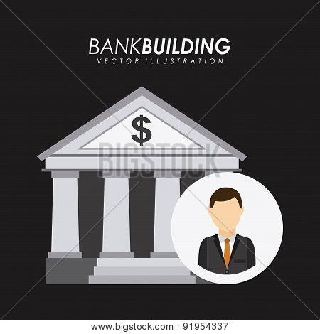 Bank design over black background vector illustration